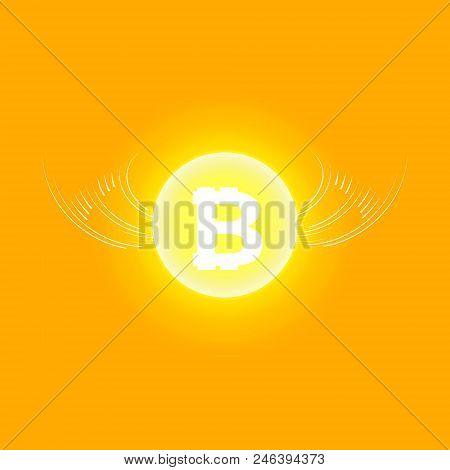 Bitcoin Cripto Currency Blockchain. Bitcoin Flat Logo On Orange Background. Bitcoin With Wings.
