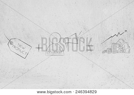 Social Media Marketing Conceptual Illustration: New Product Tag Plus Influencer With Megaphone Equal