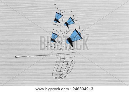 Social Media Marketing Conceptual Illustration: Influencer Megaphones Dropping Into Net