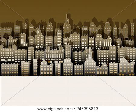 White Black City Paper, Nice Background For Urban Advert, Vector