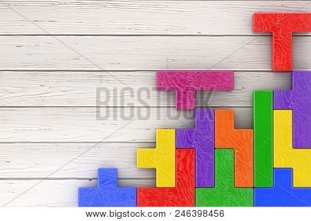 Logical Thinking Concept. Different Colorful Shapes Wooden Blocks On A Wooden Plank Background. 3d R