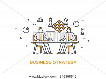 Two Businessmen Are Planning New Strategy. Chess Board Is Hanging Above The Table As Strategy Planni