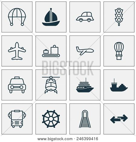Transport Icons Set With Motorboat, Cargo Boat, Luggage Conveyor And Other Railway Elements. Isolate
