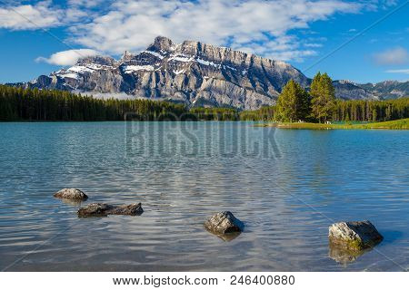 Mount Rundle And Two Jacks Lake In Banff National Park, Alberta, Canada