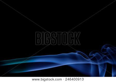 Blue Smoke On A Black Background, Abstract Smoke Swirls Over Back Background, Fire Smoke, Movement O