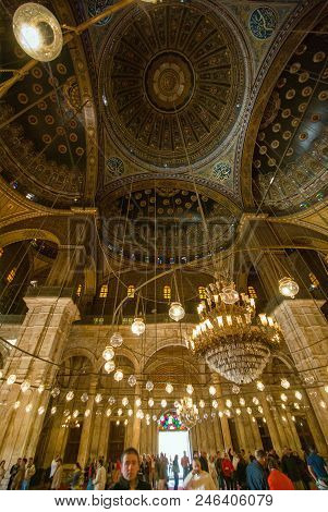 Cairo, Egypt February 22, 2017: Prayer Room And Dome Of The Mehmet Ali Pasha Mosque, Also Known As A