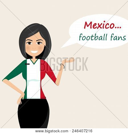 Mexico Football Fans.cheerful Soccer Fans, Sports Images.young Woman,pretty Girl Sign.happy Fans Are