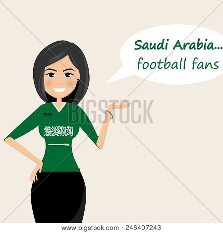 Saudi Arabia Football Fans.cheerful Soccer Fans, Sports Images.young Woman,pretty Girl Sign.happy Fa