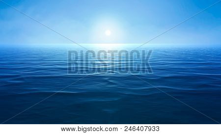 a blue ocean with sun over the horizon 3d illustration