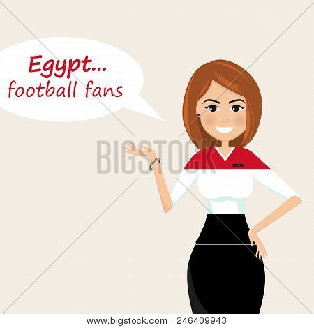 Egypt Football Fans.cheerful Soccer Fans, Sports Images.young Woman,pretty Girl Sign.happy Fans Are