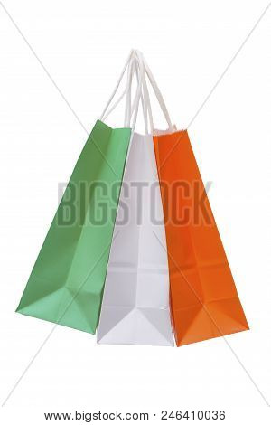 Variety Of Colored Paper Shopping Bags On White Background. Colors Of The Italy Flag.