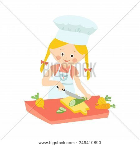 Little Girl In Apron Cooking, Cutting, Slicing Cucumber For Salad, Cartoon Vector Illustration Isola