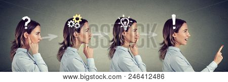 Emotional Intelligence. Side View Sequence Of A Woman Thoughtful, Thinking, Finding Solution With Ge