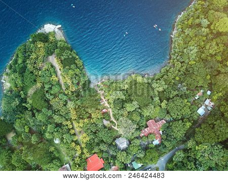 Aerial view on lagoon shore in Nicaragua. Apoyo lagoon drone view poster