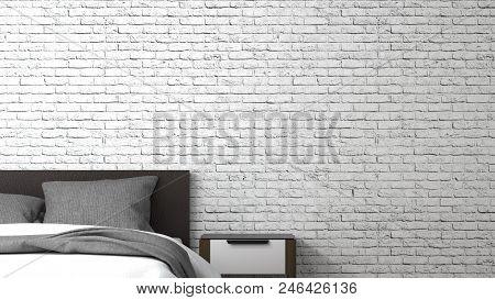 Bedroom Interior,modern Style,dorm Room,3d Illustration Furniture,sleep,build In, Gray Carpet,wooden
