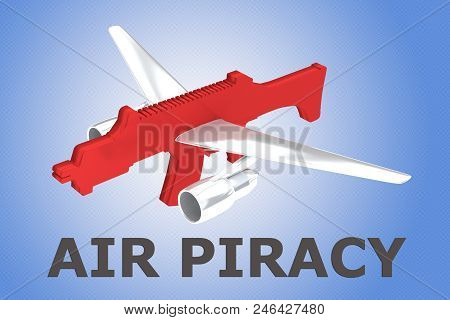 3D illustration of AIR PIRACY title with red rifle and airplane wings on blue gradient poster