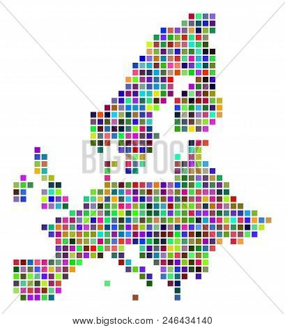 Multi Colored Dot European Union Map. Vector Collage Of European Union Map Composed Of Dot Elements.