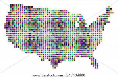Multicolored Dot Usa Map. Vector Composition Of Usa Map Done Of Dot Elements. Vector Geographic Dott