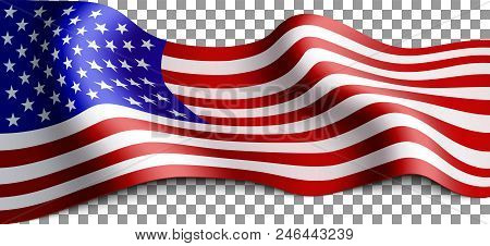 Long American Flag On Transparent Background. Flag For Patriotic Holidays. Labor Day, Independence D