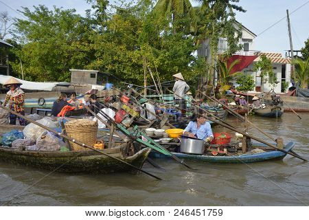 Phong Dien, Vietnam - December 31st 2017. Boats On The River At The Phong Dien Floating Market Near