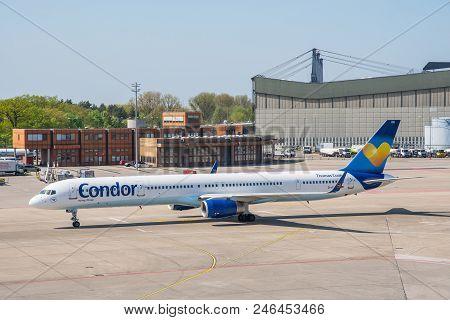 Berlin Germany - April 21. 2018: Condor Boeing 757-300 Airplane At Berlin Tegel Airport
