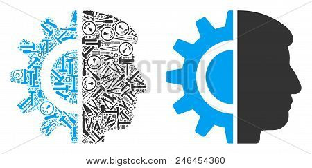 Android robotics composition of workshop instruments. Vector android robotics icon is shaped of gears, wrenches and other machinery items. Concept of technician workshop. poster