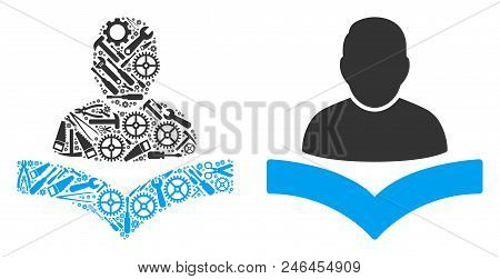 Book Reader Collage Of Service Tools. Vector Book Reader Icon Is Composed Of Gear Wheels, Wrenches A