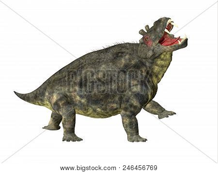 Estemmenosuchus Uralensis Dinosaur Side Profile 3d Illustration - Estemmenosuchus Uralensis Was An O