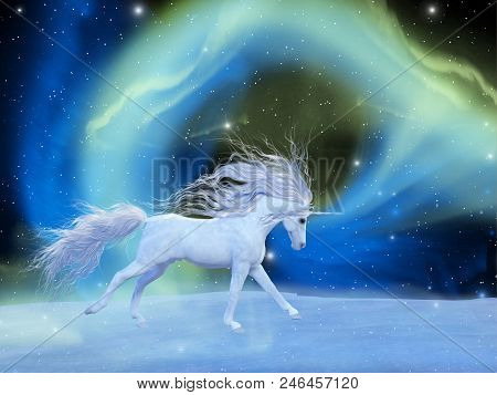 Mystic Unicorn 3d Illustration - A White Magical Unicorn Stallion Gallops Across A Universe Of An Ar