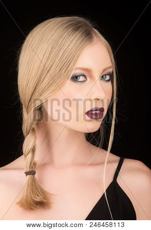 Hairdresser And Beauty Salon. Sexy Woman With Blonde Hair Isolated On Black. Makeup Look And Skincar