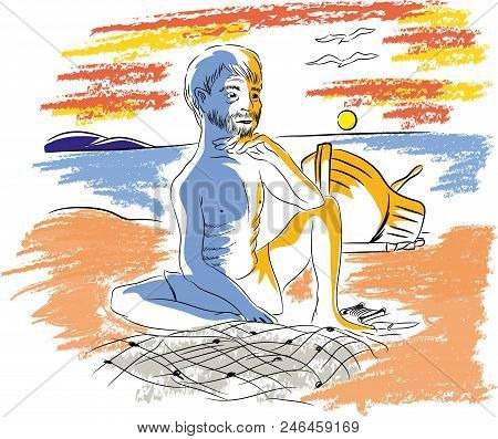 Old Fisherman With Fishing Net.  Illustration Of Old Fisherman In The Seaside.