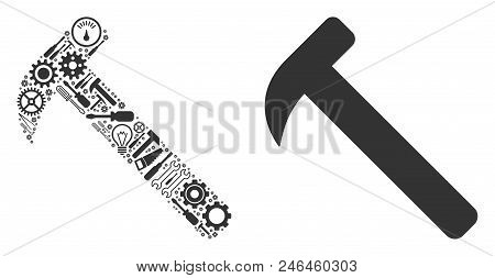 Hammer Collage Of Service Instruments. Vector Hammer Icon Is Composed Of Gears, Screwdrivers And Oth
