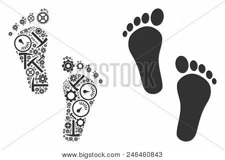Human Steps Collage Of Workshop Tools. Vector Human Steps Icon Is Done Of Gear Wheels, Wrenches And