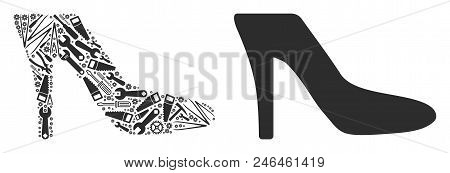 Lady Shoe Mosaic Of Service Instruments. Vector Lady Shoe Icon Is Organized Of Gears, Hammers And Ot