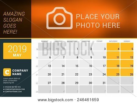 May 2019. Desk Calendar For 2019 Year. Vector Design Print Template With Place For Photo, Logo And C