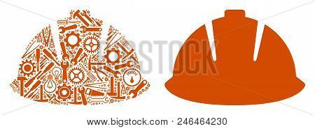 Safety Helmet Mosaic Of Service Instruments. Vector Safety Helmet Icon Is Organized Of Gear Wheels,