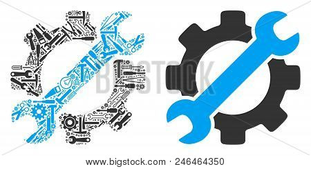Service Tools Collage Of Repair Tools. Vector Service Tools Icon Is Organized Of Gearwheels, Wrenche