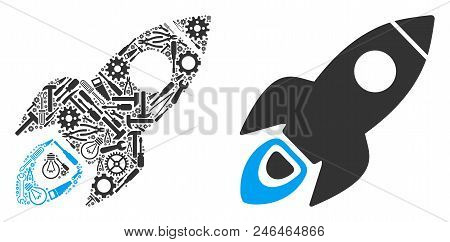 Space Rocket Collage Of Service Instruments. Vector Space Rocket Icon Is Composed Of Gearwheels, Ham