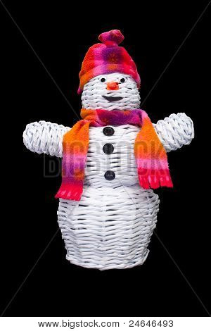 Knitted Snowman With Hat And Scarf