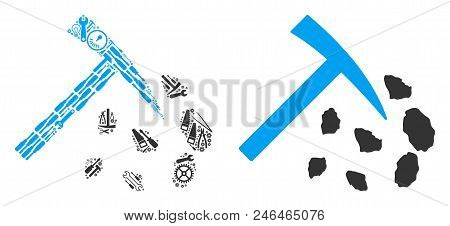 Stone Mining Hammer Collage Of Service Tools. Vector Stone Mining Hammer Icon Is Formed Of Cogwheels