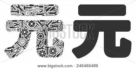 Yuan Renminbi Mosaic Of Repair Instruments. Vector Yuan Renminbi Icon Is Created Of Gearwheels, Scre