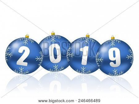 Happy new year celebration holiday 2019 greeting card with blue 3d christmas balls illustration on white background with empty copy space for your text