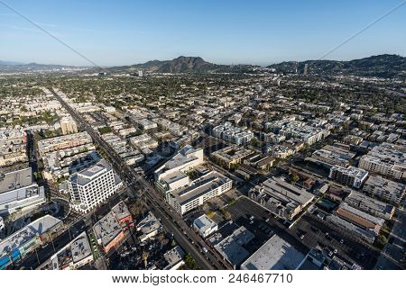 North Hollywood, California, USA - April 18, 2018:  Aerial view towards Lankershim Blvd and Magnolia Blvd in the San Fernando Valley.