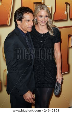 "NEW YORK - OCTOBER 24: Ben Stiller and Christine Taylor attend the premiere of ""Tower Heist"" at the Ziegfeld Theatre on October 24, 2011 in New York City."