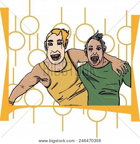 Two men in embrace in a drunken state, emotions of joy laughing laughter open mouth poster
