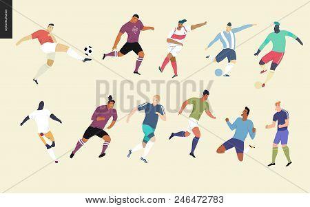 European Football, Soccer Players Set - Flat Vector Illustration Of A Young Men Wearing European Foo