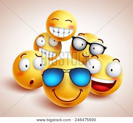 Smiley Face Emoticons Vector Photo Free Trial Bigstock