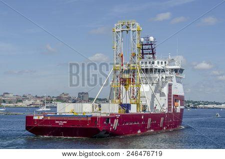 New Bedford, Massachusetts, Usa - June 22, 2018: Geotechnical Drilling Vessel Dina Polaris Returning