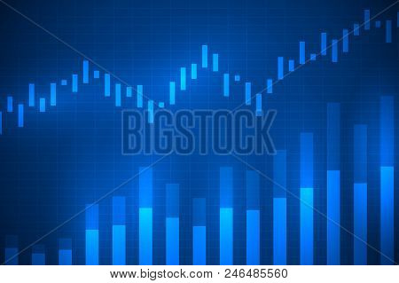 Business Chart With Uptrend Line Graph, Bar Chart And Stock Market On Blue Color Background