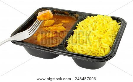 Chicken curry and rice microwave convenience meal isolated on a white background poster